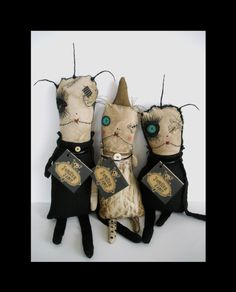 The Usual Suspects ... waiting for their mug shots! Junker Jane Art Dolls and Soft Sculptures: Art Dolls / Soft Sculptures