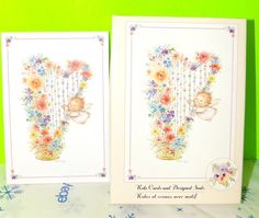 Set Of 3 Hallmark Cherub Playing Floral Harp Note Cards With Envelopes   | eBay