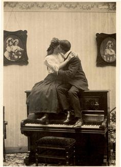 Piano kiss, circa 1890s.