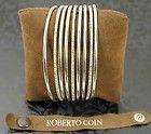 $9660 Roberto Coin 3 Diamond 18K White Gold 6 Silver Row Bracelet Bangle Women N - Designer Jewelry Galleria