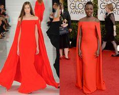 Look de Ralph Lauren primavera-verano 2014 / Lupita Nyong'o en la red carpet de los Golden Globes