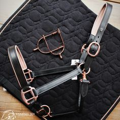 We are loving this Rose Gold trend, complete with halter, spurs and saddle pads Horse Riding Gear, Horse Riding Quotes, Horse Gear, Horse Tips, Equestrian Outfits, Equestrian Style, Equestrian Problems, English Horse Tack, English Saddle