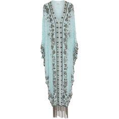 Marchesa Beaded V-Neck Caftan (97.430 ARS) ❤ liked on Polyvore featuring tops, tunics, blue, silk kaftan, fringe tunic, caftan tunic, v neck tunic and caftan tops