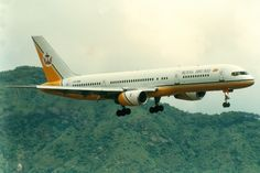 """Royal Brunei 757 about to make the infamous """"Hong Kong turn"""" on approach to Kai Tak."""