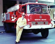 NSW Engadine Bushfire Brigade Bedford tanker (and very well dressed brigade captain!)