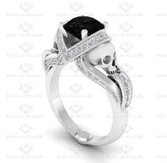 'Aphrodite' 1.85ct Natural Black Diamond and White Diamond Skull White Gold Engagement Ring