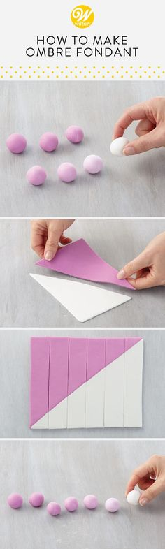 Learn how to make the perfect ombré shades of fondant for a seamless transition in between colors for your cake decorating! Learn how to make the perfect ombré shades of fondant for a seamless transition in between colors for your cake decorating! Fondant Tips, Fondant Icing, Fondant Tutorial, Fondant Cakes, Cupcake Cakes, Fondant Recipes, Buttercream Cake, How To Color Fondant, Cake Recipes