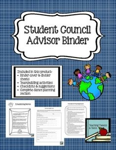 Get organized with this binder set. Student Council advisers are busy people, let this binder set help keep you organized. Student Council Activities, Student Council Ideas, Student Body President, Leadership Classes, Student Leadership, New Students, High School Students, Binder Organization, Organizing
