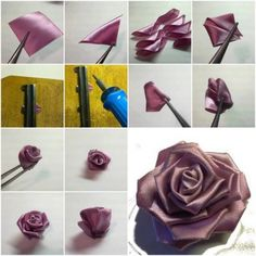 How to make Purple Ribbon Rose step by step DIY tutorial instructions
