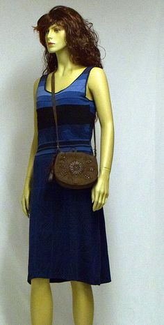 Summer dress upcycled from the old tricot t-shirts and skirt with Tommy Hilfiger bag.
