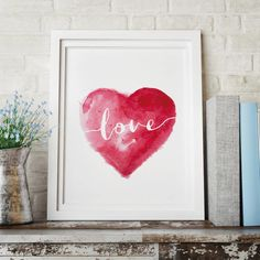 Red Watercolour Love Heart http://www.notonthehighstreet.com/themotivatedtype/product/red-watercolour-love-heart-wall-decor-art-print @notonthehighst #notonthehighstreet