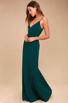 You'll be a thing of beauty and a joy forever in the Infinite Glory Forest Green Maxi Dress! Sleek, stretch knit shapes this stunning dress with a darted, triangle bodice, adjustable straps, and maxi skirt with flaring mermaid hem. Scoop back with hidden zipper/clasp.