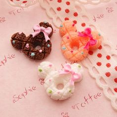 6pcs Kawaii Mouse Donuts Cabochon. $5.40, via Etsy.