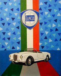 """""""Lancia Aurelia GT Spider"""" by Paul Cockram. Acrylic painting on Canvas, Subject: Transportation and maps, Illustrative style, One of a kind artwork, Signed certificate of authenticity, This artwork is sold unframed, Size: 40 x 50 x 0.3 cm (unframed), 15.75 x 19.69 x 0.12 in (unframed), Materials: acrylic paint"""