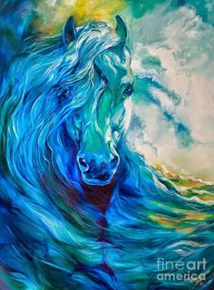 Abstract Horse Paintings - Wave Runner Blue Ghost Equine by Marcia Baldwin Arte Equina, Horse Artwork, Elephant Artwork, Horse Drawings, Equine Art, Horse Pictures, Animal Paintings, Horse Paintings, Pastel Paintings