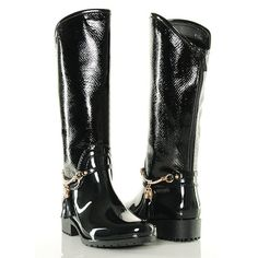 Kalosze - Czarne Błyszczące ze Złotymi Dodatkami - www.BUU.pl #blackshoes #kalosze #fashion #buupl