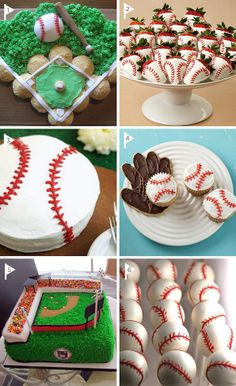 For you bakers out there- this is so cute! (You could even decorate it to look like Fenway Park or Busch Stadium! Baseball Desserts, Baseball Treats, Baseball Birthday Party, Boy Birthday, Birthday Ideas, Birthday Celebration, Birthday Parties, Baseball Party Decorations, Party Sweets