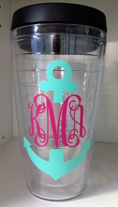 Monogram Tumbler / Travel Mug with Sip Lid by CalisCases on Etsy, $13.99 @Casie Duberstein Duberstein Duberstein Richardson
