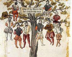 Lámina donde aparecen 9 españoles colgados de un árbol en la revuelta de los Países Bajos. De Wickiana, 1567