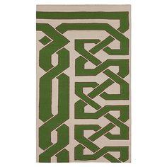 Rug green lattice graphic