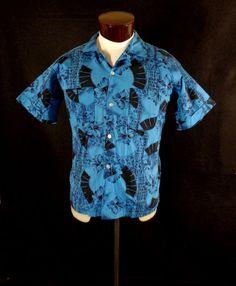 a45b501e48 Rare Vintage Harris  amp  Frank Blue Tropical Floral Fan Print Hawaiian  Shirt–L-