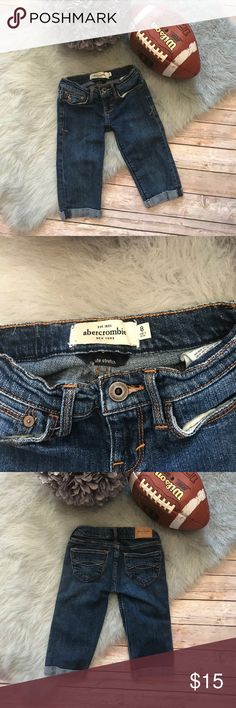 """Abercrombie Girls Long Bermuda Shorts Jean Denim 8 Abercrombie Girls Long Bermuda Shorts Jean Denim 8  These were knee length on my girls.  Please check measurements. Cuffed. Slight pulling at stride. Five pocket style. Belt loops. 99/1 Cotton/Elastane 17.75"""" long 11.5"""" inseam 10.5"""" across the top abercrombie kids Bottoms Shorts"""