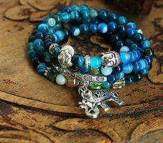 Blue Agate Mala Bracelet Necklace Thai Silver Elephant Pendant Buddha