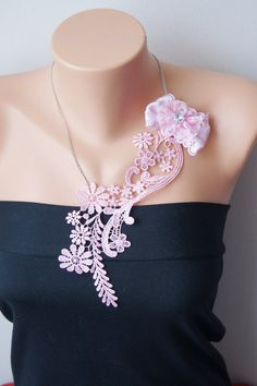 Free Shipping  Pink steampunk Venise Lace by ArtofAccessory