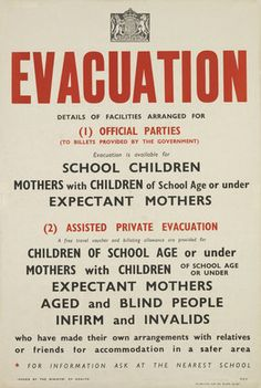 Postcard - Evacuation Poster - World War II - British - Mothers Children Adverts World War 2 Display, British History, American History, Native American, London History, Women's History, American Girls, Ancient History, Ww2 Propaganda Posters