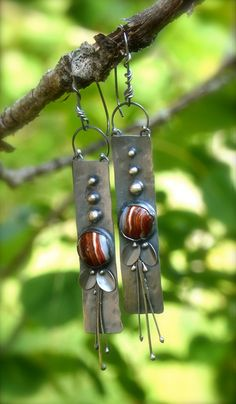 Agate Earrings Sterling Silver One of a Kind Jewelry by Wild Prairie Silver Jewelry Co.