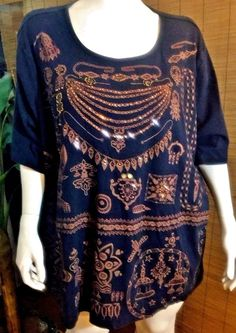 Black Cotton Short Sleeve Top with copper print & Bling! 5x #CMShapes #KnitTop #Casual