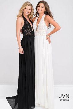 Halter Neck Open Back Lace Bodice Prom Dress JVN33922