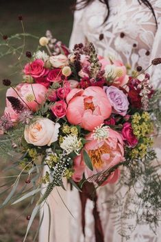 Woodland Wedding & Tipi Reception With Bride In Hermione De Paula Gown Pink Peony Wedding Bouquet Peony Bouquet Wedding, Peonies Bouquet, Bride Bouquets, Bridal Flowers, Pink Peonies, Floral Wedding, Pink Flower Bouquet, Bridal Bouquet Pink, Floral Bouquets