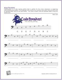 CodeBreaker! | Bass Clef Note Name Worksheet - http://makingmusicfun.net/htm/f_printit_free_printable_worksheets/codebreaker-bass-clef-worksheet.htm