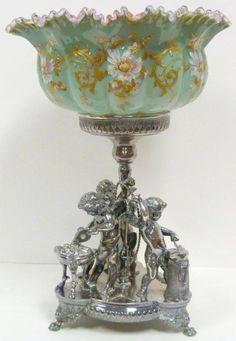 Victorian 1880 Brides Basket with Silver Cherubs Holder