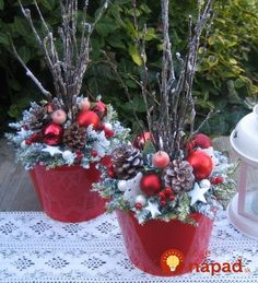 """""""dressing up"""" those lighted twig branches! Outside Christmas Decorations, Christmas Planters, Outdoor Christmas, Christmas Themes, Christmas Holidays, Christmas Wreaths, Christmas Crafts, Christmas Ornaments, Christmas Flower Arrangements"""