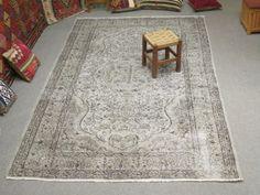 Vintage-Oushak-Handmade-Pale-GREY-Color-Overdyed-Rug-Faded-Authentic-Patterns