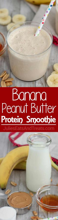 Banana Peanut Butter Protein Smoothie ~ Healthy, Protein Smoothie is loaded with Peanut Butter, Banana, and Honey. It tastes like a milkshake; you'll never know that it's good for you! via @julieseats