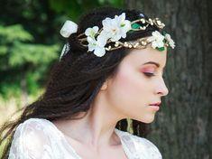 Arwenn: Bridal rustic floral crown in ivory - Wedding. €50.00, via Etsy.