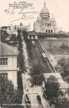 Montmartre Funicular in Paris going up to the Basilica of the Sacred Heart from a postcard dated November 14th, 1911.
