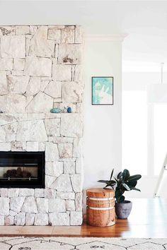 Sandstone fireplace. Modern Stone Fireplace, Painted Stone Fireplace, Sandstone Fireplace, Stacked Stone Fireplaces, Fireplace Design, Stone Veneer Panels, Hearth Stone, Fireplace Remodel, Fireplace Makeovers