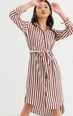 Buy In Wear Tamara stripe shirt dress at ASOS. With free delivery and return options (Ts&Cs apply), online shopping has never been so easy. Get the latest trends with ASOS now. Tamara, Asos, Striped Shirt Dress, Crop Tops, Tank Tops, Shirt Style, Latest Trends, Fashion Dresses, Rompers
