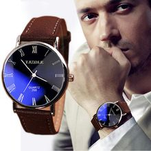 Brand New Brown Luxury Fashion Faux Leather Mens Quartz Analog Watch Casual Male Business Watches Top Quality(China (Mainland))