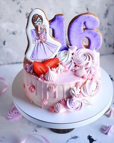 Cake Icing, Fondant Cakes, Cupcake Cakes, Girly Cakes, Cute Cakes, Make Up Cake, Cakes For Women, Sweets Cake, Drip Cakes
