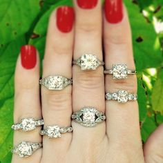 #Wedding Wednesday at #CraigEvanSmall! Can you spot what all of these gorgeous #vintage #diamond engagement #rings have in common? They all feature a round #diamond set in a square setting, which make the #diamonds appear bigger than they actually are! #engagementring #ring #weddingring #vintagering #bride #antique #showmeyourrings
