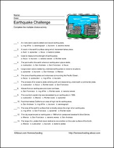 These 9 printable pages will help your students learn about earthquakes while practicing various skills and vocabulary words.
