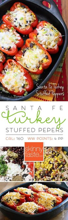 4 Points About Vintage And Standard Elizabethan Cooking Recipes! Santa Fe Turkey Stuffed Peppers My Favorite Way To Stuff A Pepper, Filling And Light Mexican Food Recipes, New Recipes, Dinner Recipes, Cooking Recipes, Favorite Recipes, Healthy Recipes, Recipies, Sweets Recipes, Santa Fe