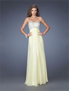 Elegant Strapless Beads Empire Open Back Chiffon Prom Dress PD1365 www.homecomingstore.com $189.0000