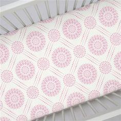 Bubblegum Pink Modern Medallion Crib Sheet