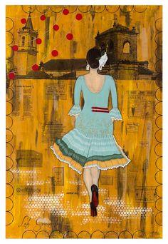 Trabajo presentado al Concurso de #carteles de #Feria de Dos Hermanas. #Flamenca. www.lolagranado.com